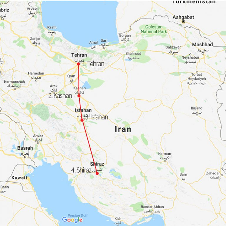 iran highlight tour map