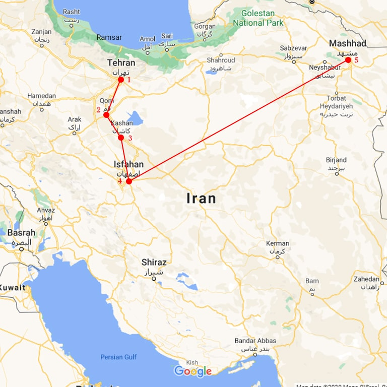 iran caltural tour map