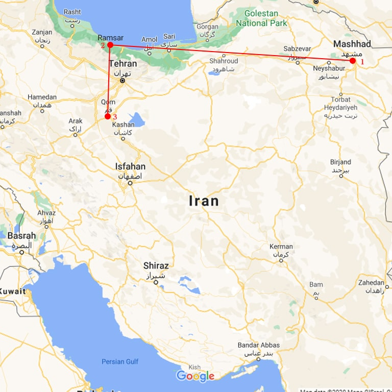 iran religious tour map
